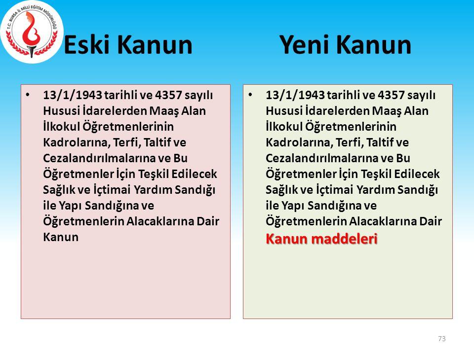 Eski Kanun 13/1/1943 tarihli ve 4357 sayılı Hususi İdarelerden Maaş Alan İlkokul Öğretmenlerinin Kadrolarına, Terfi, Taltif ve Cezalandırılmalarına ve