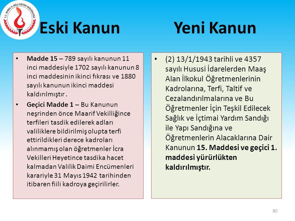 Eski Kanun Madde 15 – 789 sayılı kanunun 11 inci maddesiyle 1702 sayılı kanunun 8 inci maddesinin ikinci fıkrası ve 1880 sayılı kanunun ikinci maddesi
