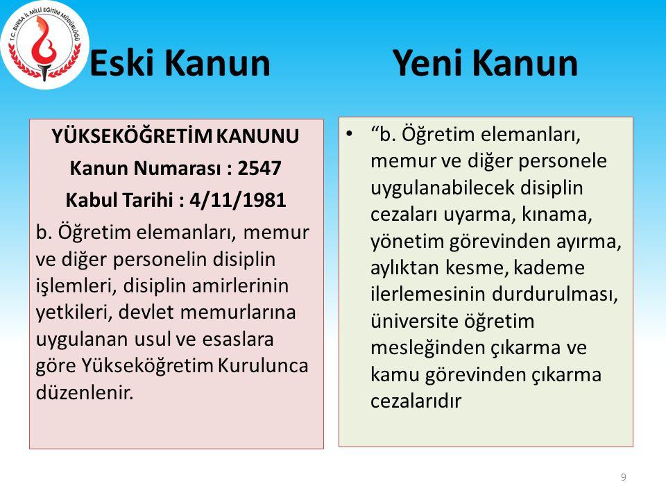 Eski Kanun 652 SAYILI KHK d) Bakanlık teşkilatı ile personelinin idarî, malî ve hukukî işlemleri hakkında denetim, inceleme ve soruşturma yapmak.