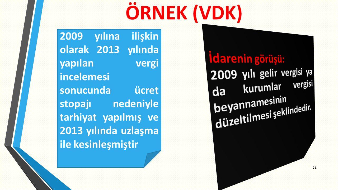 ÖRNEK (VDK) 21 2009 yılına ilişkin olarak 2013 yılında yapılan vergi incelemesi sonucunda ücret stopajı nedeniyle tarhiyat yapılmış ve 2013 yılında uzlaşma ile kesinleşmiştir