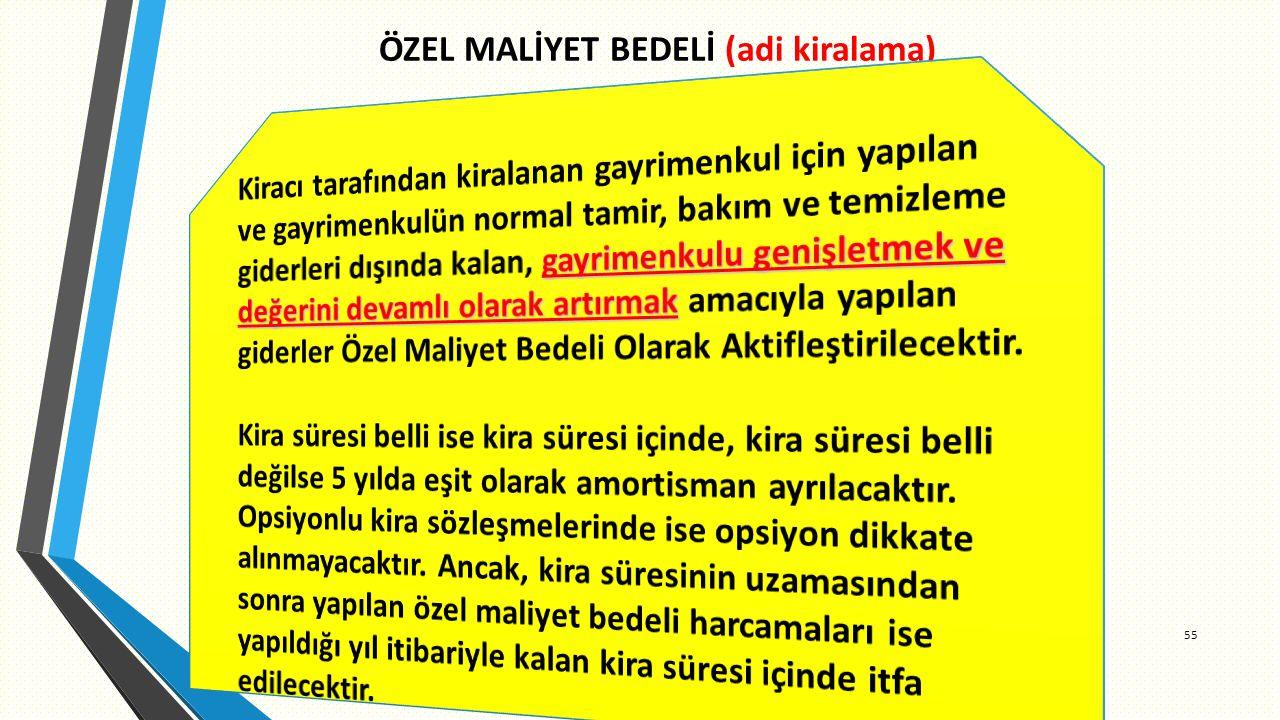 ÖZEL MALİYET BEDELİ (adi kiralama) 55