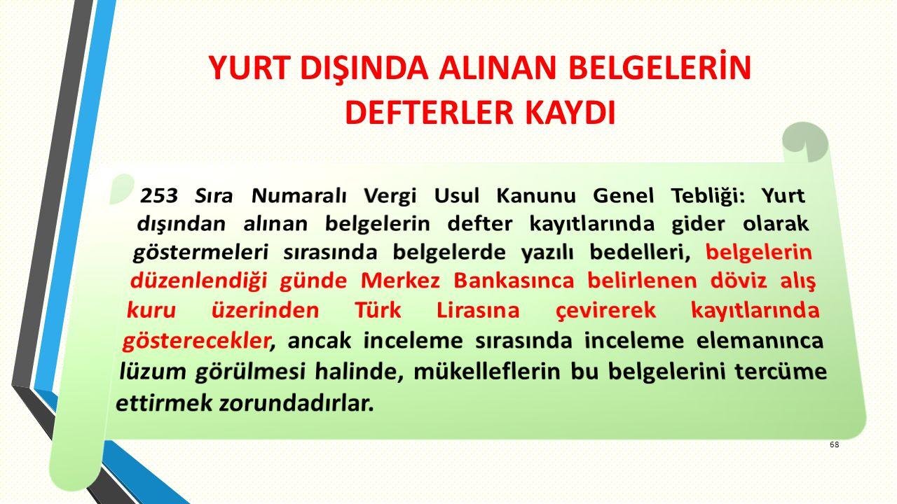 YURT DIŞINDA ALINAN BELGELERİN DEFTERLER KAYDI 68