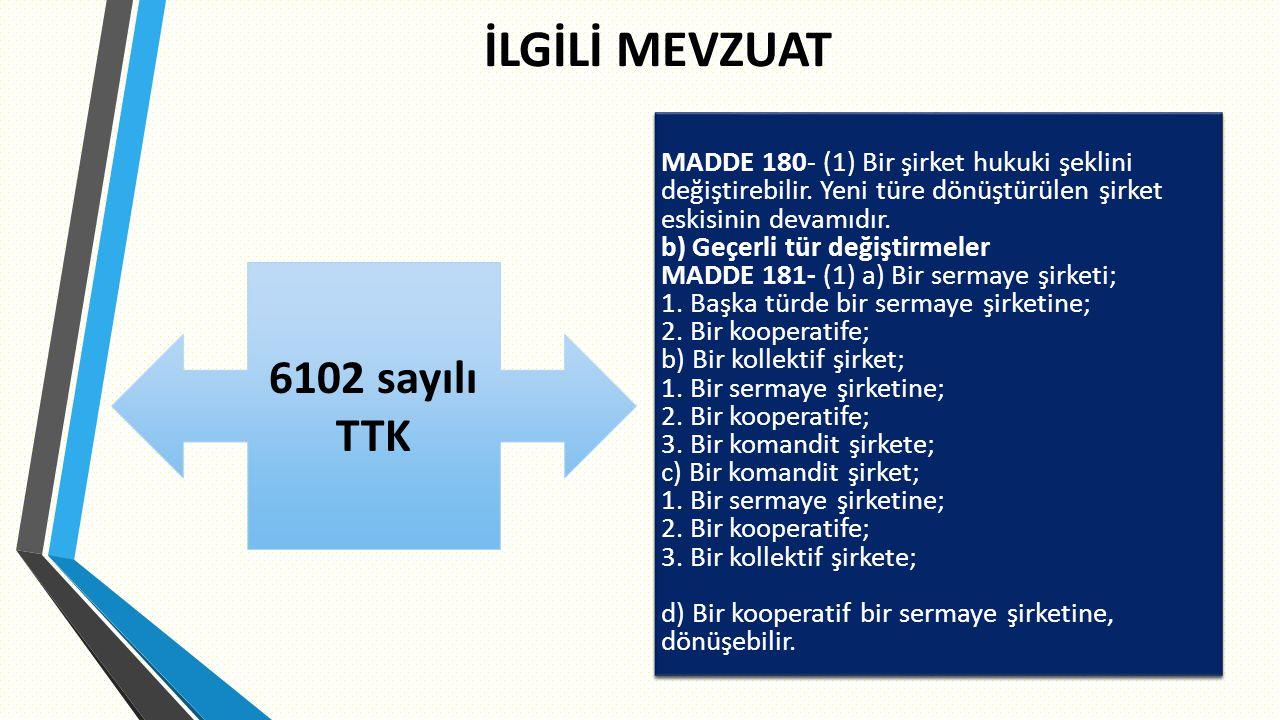 İLGİLİ MEVZUAT 78 MADDE 180- (1) Bir şirket hukuki şeklini değiştirebilir.