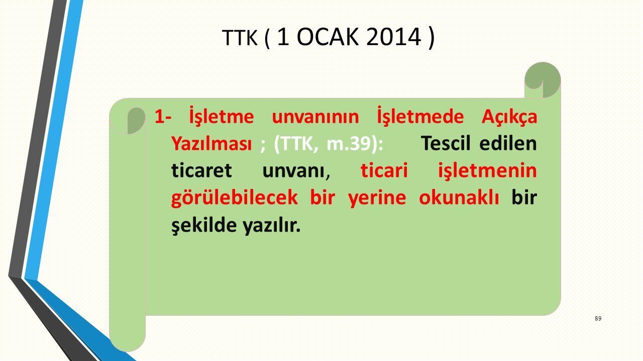 TTK ( 1 OCAK 2014 ) 89 1- İşletme unvanının İşletmede Açıkça Yazılması ; (TTK, m.39): Tescil edilen ticaret unvanı, ticari işletmenin görülebilecek bir yerine okunaklı bir şekilde yazılır.