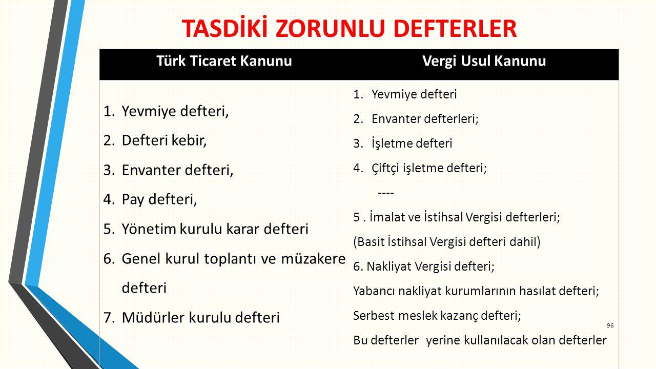 TASDİKİ ZORUNLU DEFTERLER 96 Türk Ticaret Kanunu Vergi Usul Kanunu 1.Yevmiye defteri, 2.Defteri kebir, 3.Envanter defteri, 4.Pay defteri, 5.Yönetim kurulu karar defteri 6.Genel kurul toplantı ve müzakere defteri 7.Müdürler kurulu defteri 1.Yevmiye defteri 2.Envanter defterleri; 3.İşletme defteri 4.Çiftçi işletme defteri; ---- 5.