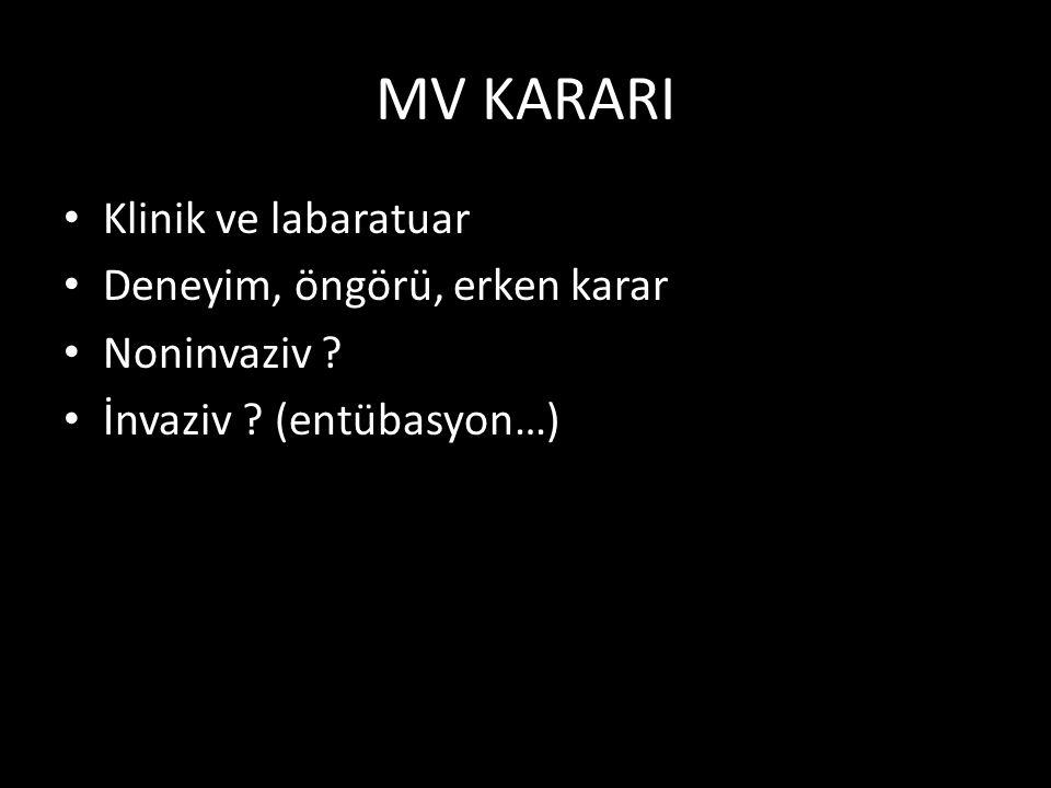 MV KARARI Klinik ve labaratuar Deneyim, öngörü, erken karar Noninvaziv ? İnvaziv ? (entübasyon…)