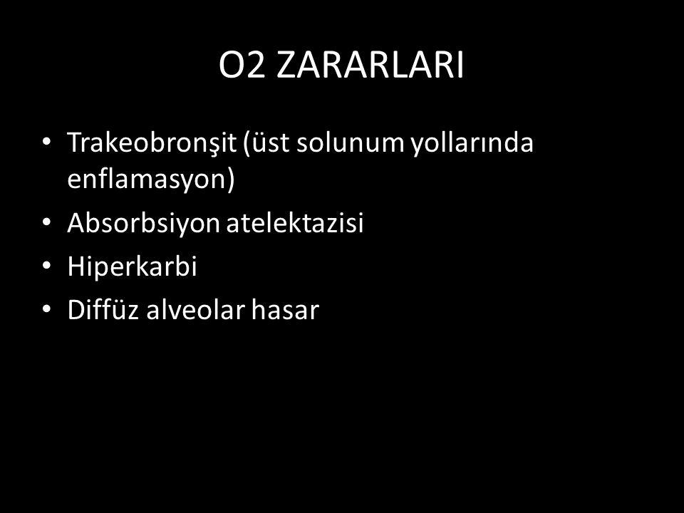 O2 ZARARLARI Trakeobronşit (üst solunum yollarında enflamasyon) Absorbsiyon atelektazisi Hiperkarbi Diffüz alveolar hasar
