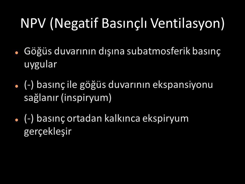 NPV (Negatif Basınçlı Ventilasyon) Göğüs duvarının dışına subatmosferik basınç uygular (-) basınç ile göğüs duvarının ekspansiyonu sağlanır (inspiryum) (-) basınç ortadan kalkınca ekspiryum gerçekleşir