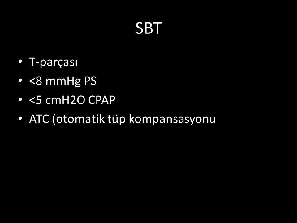 SBT T-parçası <8 mmHg PS <5 cmH2O CPAP ATC (otomatik tüp kompansasyonu