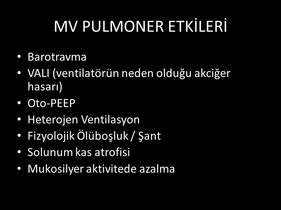 MV PULMONER ETKİLERİ Barotravma VALI (ventilatörün neden olduğu akciğer hasarı) Oto-PEEP Heterojen Ventilasyon Fizyolojik Ölüboşluk / Şant Solunum kas atrofisi Mukosilyer aktivitede azalma