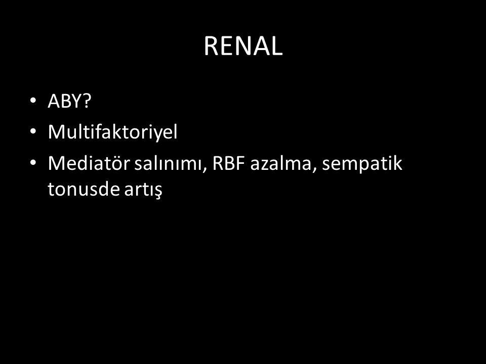 RENAL ABY? Multifaktoriyel Mediatör salınımı, RBF azalma, sempatik tonusde artış