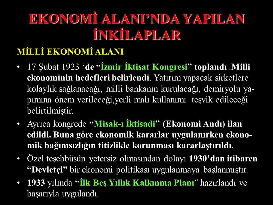EKONOMİ ALANI'NDA YAPILAN İNKİLAPLAR MİLLİ EKONOMİ ALANI 17 Şubat 1923 'de İzmir İktisat Kongresi toplandı.Milli ekonominin hedefleri belirlendi.