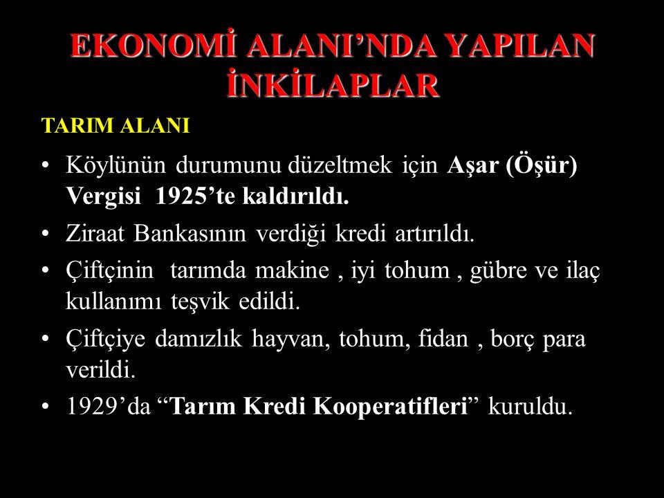 EKONOMİ ALANI'NDA YAPILAN İNKİLAPLAR TARIM ALANI Köylünün durumunu düzeltmek için Aşar (Öşür) Vergisi 1925'te kaldırıldı.