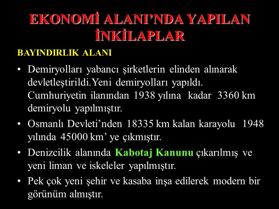 """EKONOMİ ALANI'NDA YAPILAN İNKİLAPLAR TİCARET ALANI 1924'te İş Bankası kuruldu.( İş sahiplerine kredi vermek amacıyla kuruldu) 1 Temmuz 1926 'da """"Kabot"""