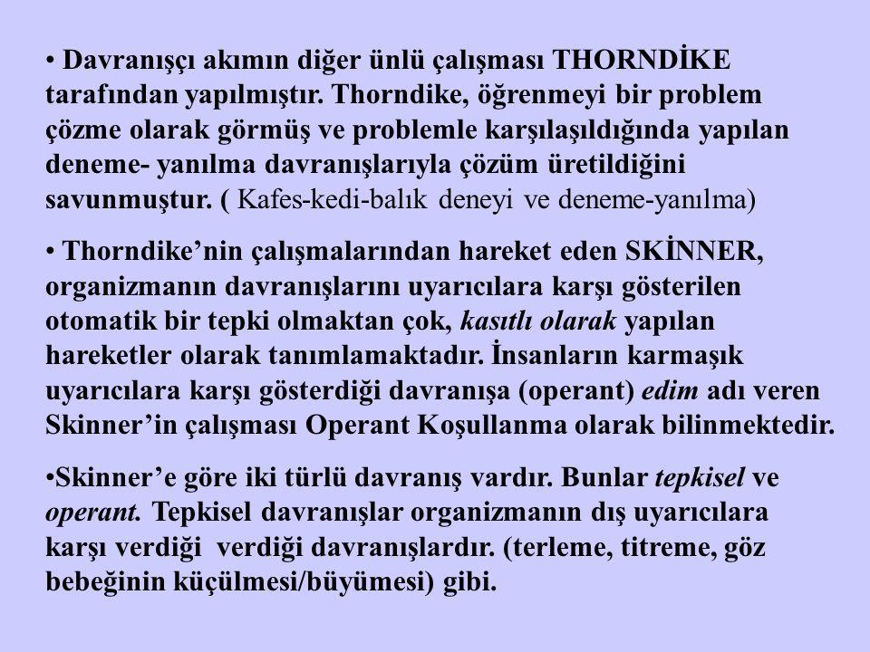 Davranışçı akımın diğer ünlü çalışması THORNDİKE tarafından yapılmıştır.