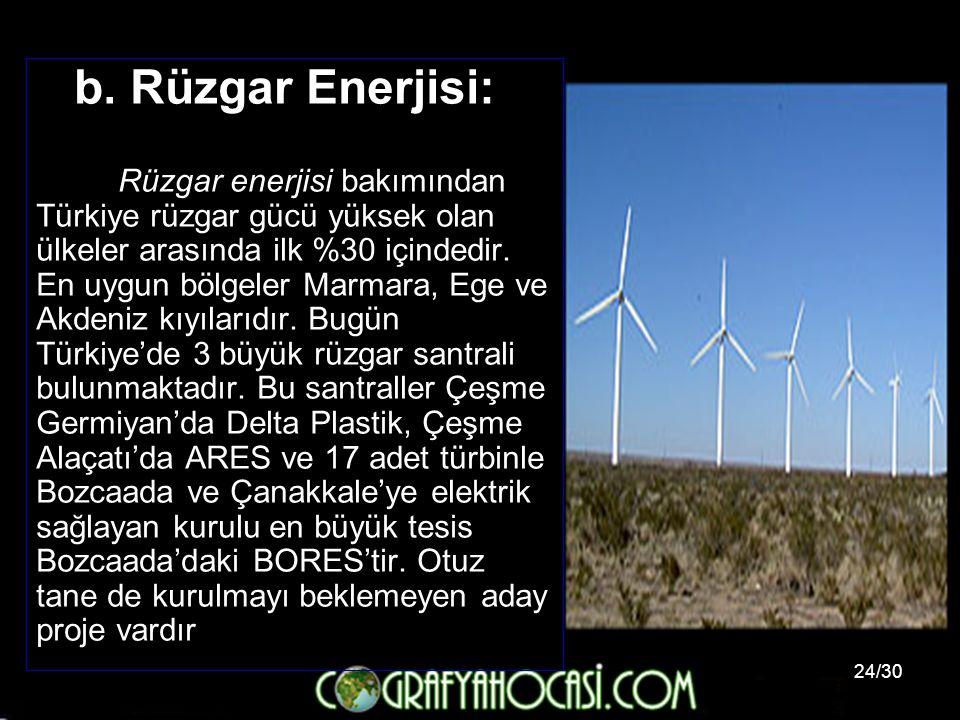 24/30 b. Rüzgar Enerjisi: Rüzgar enerjisi bakımından Türkiye rüzgar gücü yüksek olan ülkeler arasında ilk %30 içindedir. En uygun bölgeler Marmara, Eg