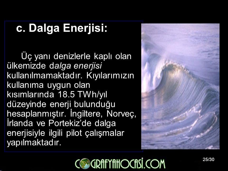 25/30 c. Dalga Enerjisi: Üç yanı denizlerle kaplı olan ülkemizde dalga enerjisi kullanılmamaktadır. Kıyılarımızın kullanıma uygun olan kısımlarında 18