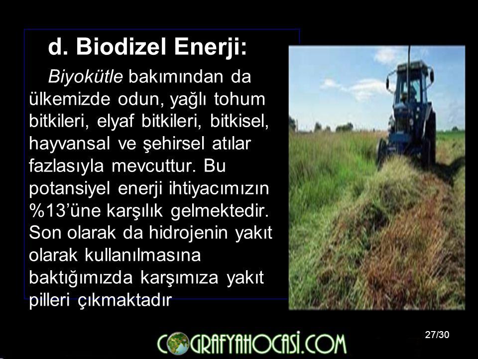 27/30 d. Biodizel Enerji: Biyokütle bakımından da ülkemizde odun, yağlı tohum bitkileri, elyaf bitkileri, bitkisel, hayvansal ve şehirsel atılar fazla