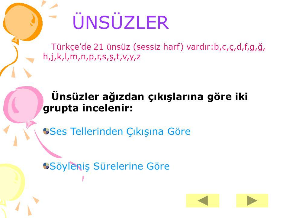 ÜNSÜZLER Türkçe'de 21 ünsüz (sessiz harf) vardır:b,c,ç,d,f,g,ğ, h,j,k,l,m,n,p,r,s,ş,t,v,y,z Ünsüzler ağızdan çıkışlarına göre iki grupta incelenir: Se