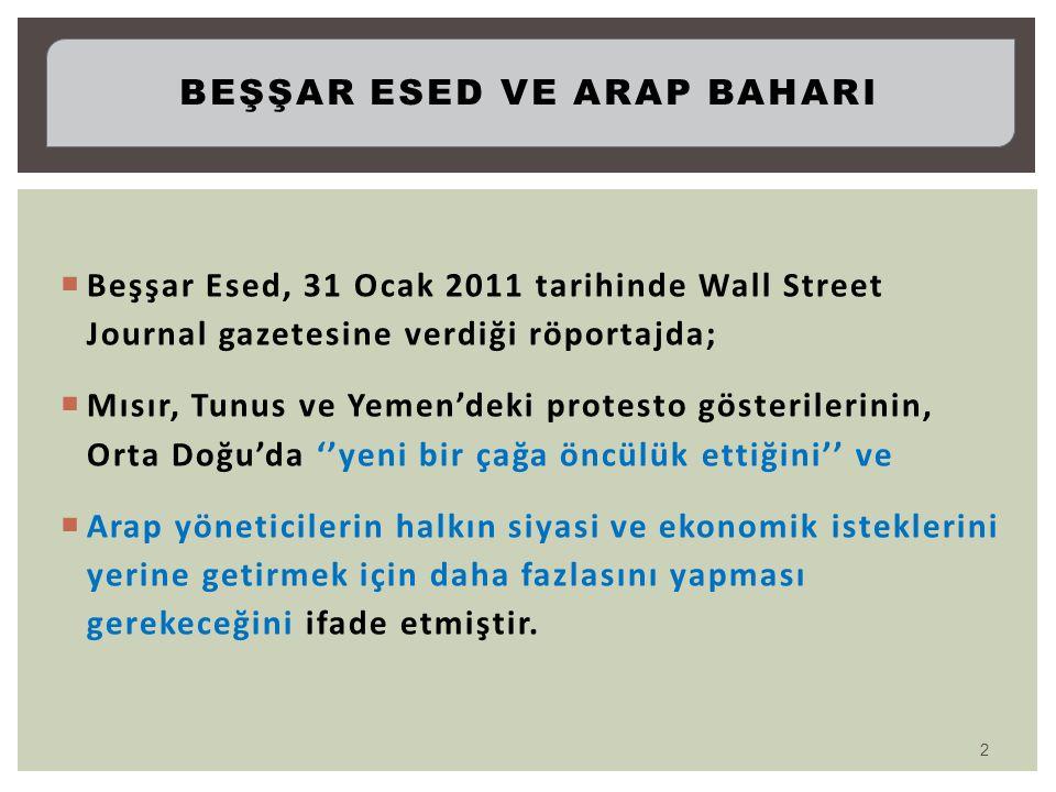 Beşşar Esed, 31 Ocak 2011 tarihinde Wall Street Journal gazetesine verdiği röportajda;  Mısır, Tunus ve Yemen'deki protesto gösterilerinin, Orta Do