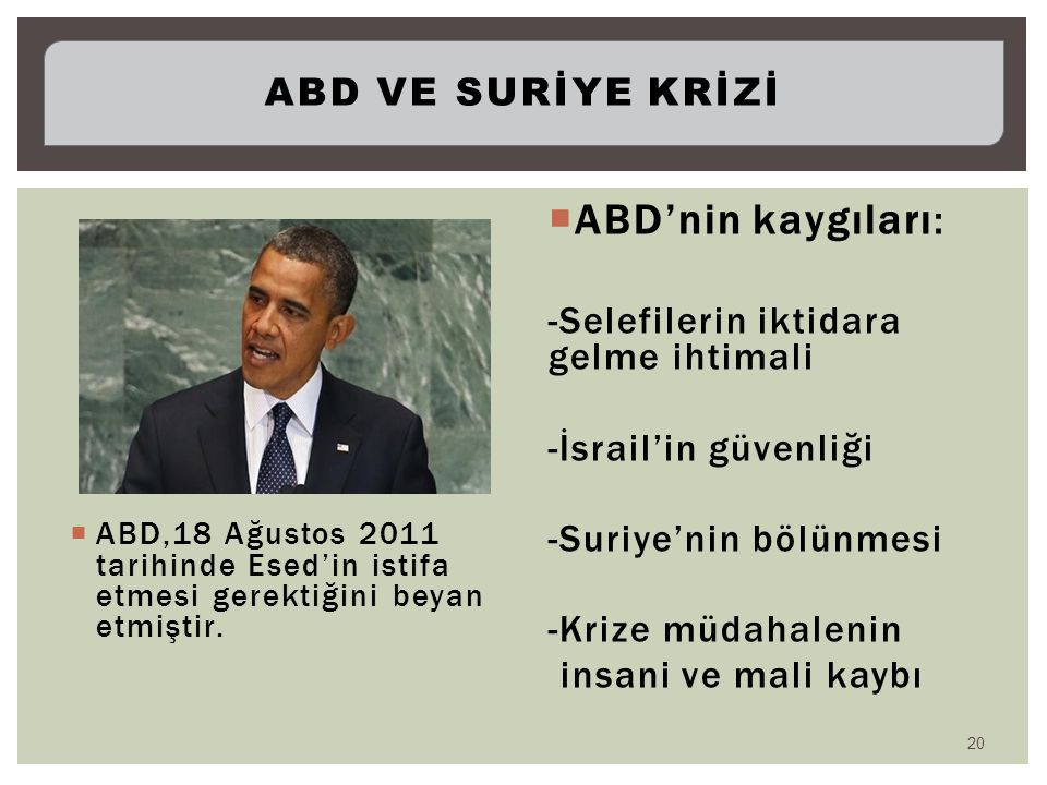 ABD,18 Ağustos 2011 tarihinde Esed'in istifa etmesi gerektiğini beyan etmiştir.  ABD'nin kaygıları: -Selefilerin iktidara gelme ihtimali -İsrail'in