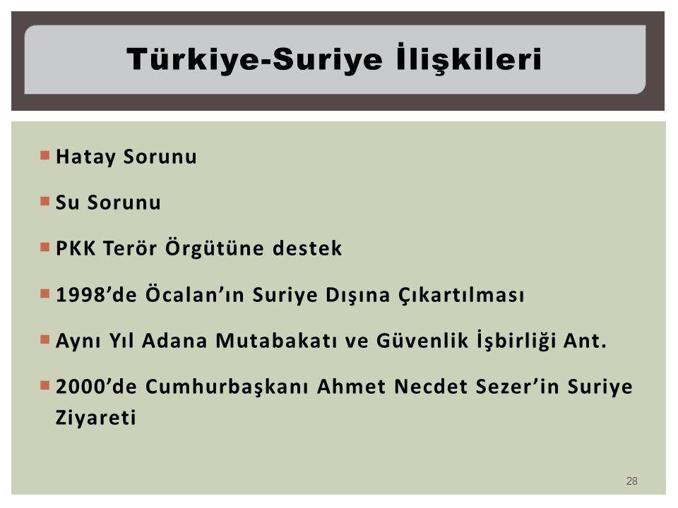  Hatay Sorunu  Su Sorunu  PKK Terör Örgütüne destek  1998'de Öcalan'ın Suriye Dışına Çıkartılması  Aynı Yıl Adana Mutabakatı ve Güvenlik İşbirliğ