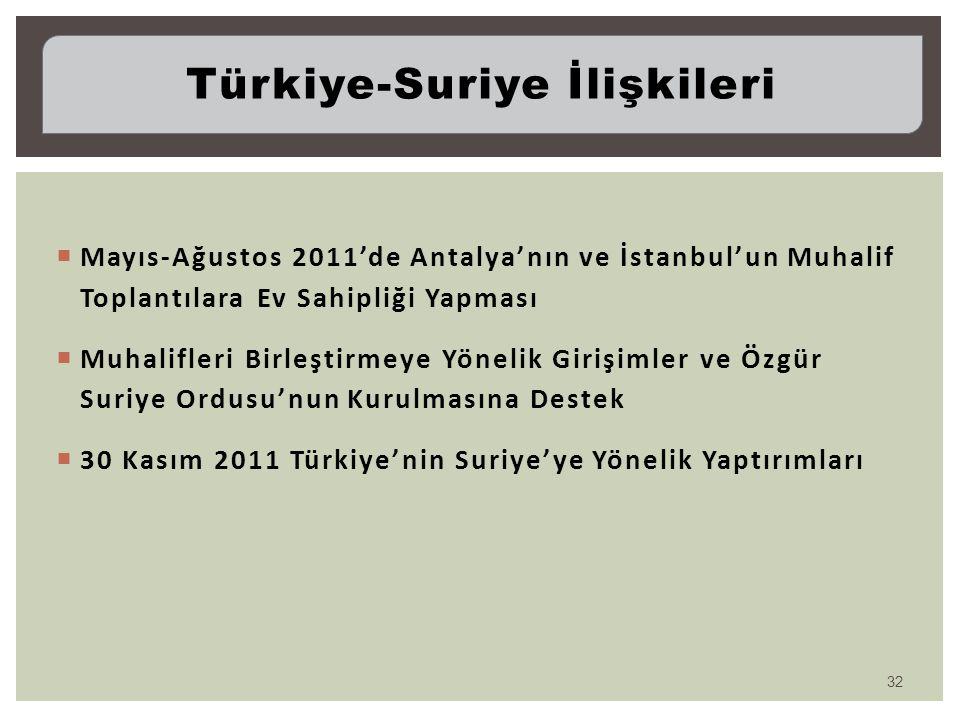  Mayıs-Ağustos 2011'de Antalya'nın ve İstanbul'un Muhalif Toplantılara Ev Sahipliği Yapması  Muhalifleri Birleştirmeye Yönelik Girişimler ve Özgür S