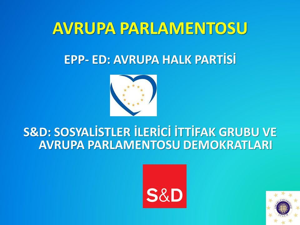 AVRUPA PARLAMENTOSU EPP- ED: AVRUPA HALK PARTİSİ S&D: SOSYALİSTLER İLERİCİ İTTİFAK GRUBU VE AVRUPA PARLAMENTOSU DEMOKRATLARI