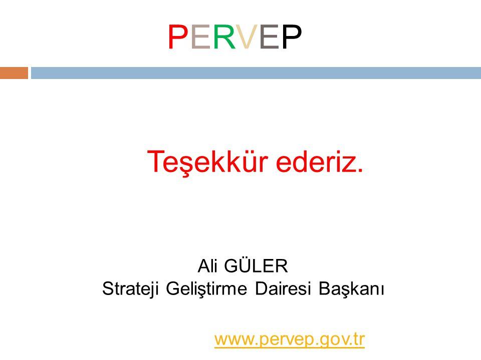 Teşekkür ederiz. www.pervep.gov.tr PERVEPPERVEP Ali GÜLER Strateji Geliştirme Dairesi Başkanı