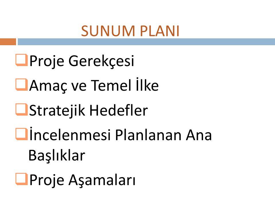  Proje Gerekçesi  Amaç ve Temel İlke  Stratejik Hedefler  İncelenmesi Planlanan Ana Başlıklar  Proje Aşamaları SUNUM PLANI