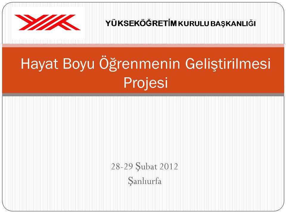28-29 Ş ubat 2012 Ş anlıurfa Hayat Boyu Öğrenmenin Geliştirilmesi Projesi YÜKSEKÖ Ğ RET İ M KURULU BA Ş KANLI Ğ I