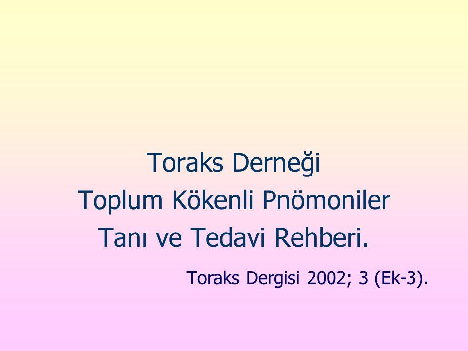 Toraks Derneği Toplum Kökenli Pnömoniler Tanı ve Tedavi Rehberi. Toraks Dergisi 2002; 3 (Ek-3).