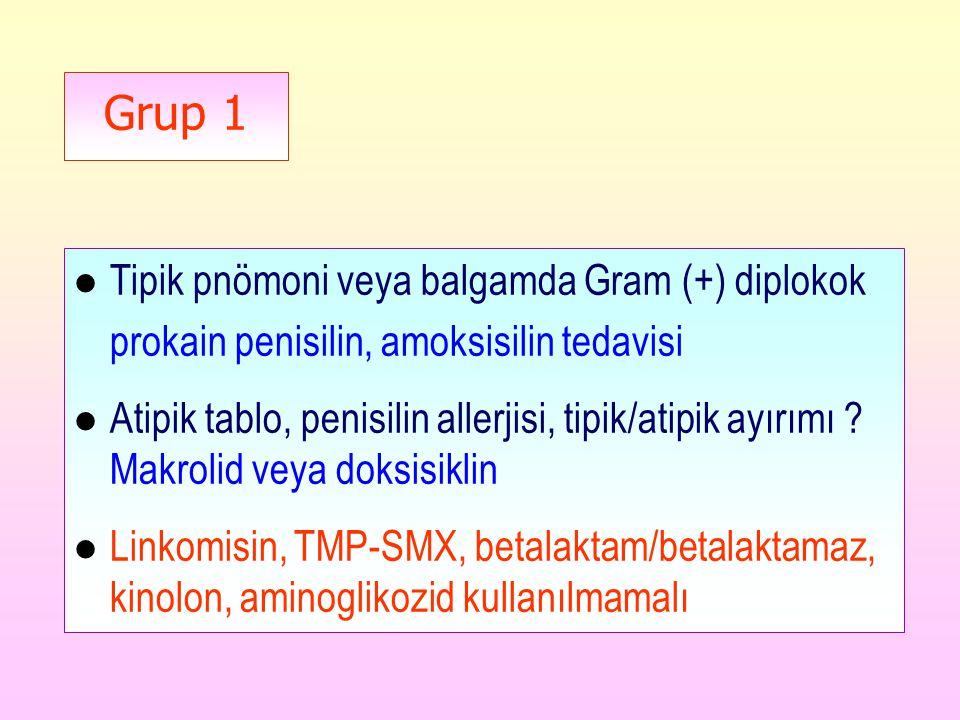Grup 1 l Tipik pnömoni veya balgamda Gram (+) diplokok prokain penisilin, amoksisilin tedavisi l Atipik tablo, penisilin allerjisi, tipik/atipik ayırımı .