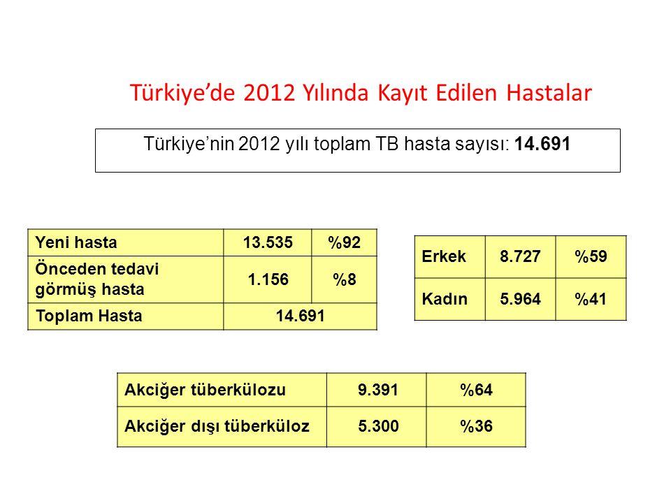 Türkiye'nin 2012 yılı toplam TB hasta sayısı: 14.691 Erkek8.727%59 Kadın5.964%41 Akciğer tüberkülozu 9.391%64 Akciğer dışı tüberküloz 5.300%36 Yeni ha