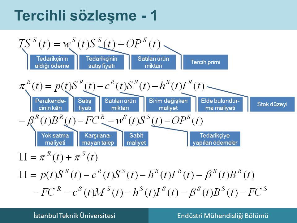 İstanbul Teknik ÜniversitesiEndüstri Mühendisliği Bölümü Tercihli sözleşme - 1 Tedarikçinin aldığı ödeme Tedarikçinin satış fiyatı Satılan ürün miktar