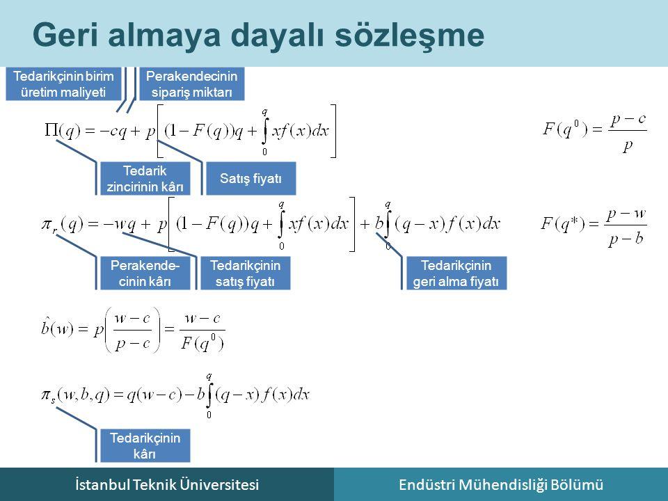 İstanbul Teknik ÜniversitesiEndüstri Mühendisliği Bölümü Geri almaya dayalı sözleşme Tedarik zincirinin kârı Tedarikçinin birim üretim maliyeti Perake