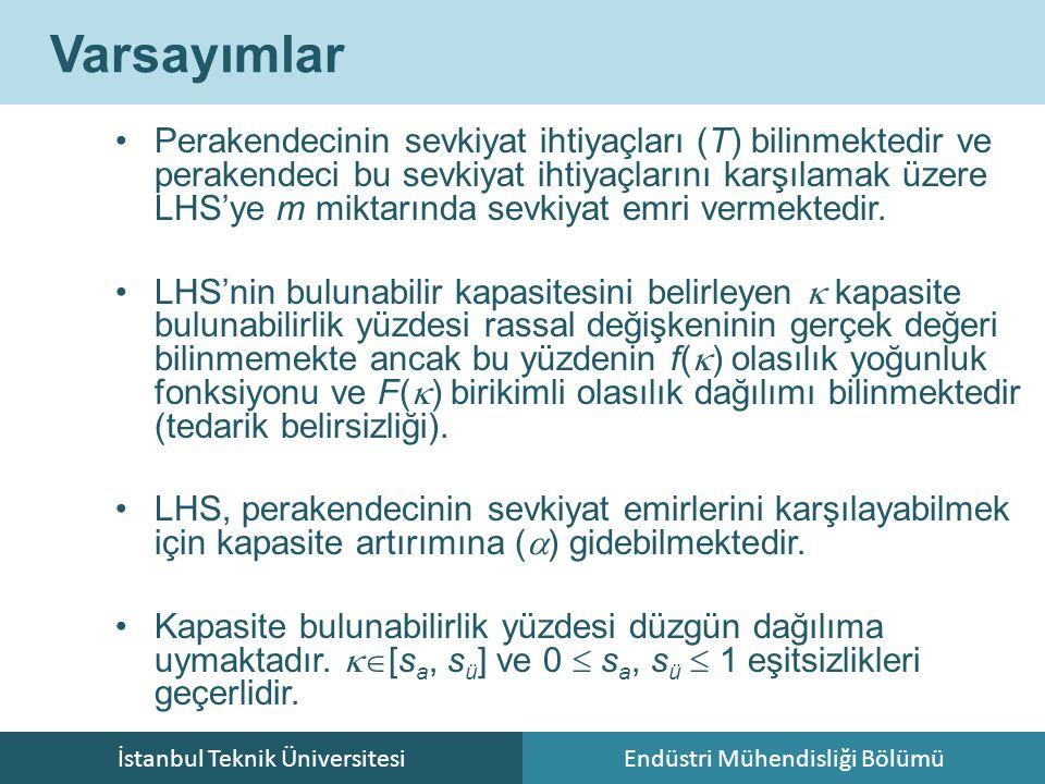 İstanbul Teknik ÜniversitesiEndüstri Mühendisliği Bölümü Varsayımlar Perakendecinin sevkiyat ihtiyaçları (T) bilinmektedir ve perakendeci bu sevkiyat ihtiyaçlarını karşılamak üzere LHS'ye m miktarında sevkiyat emri vermektedir.