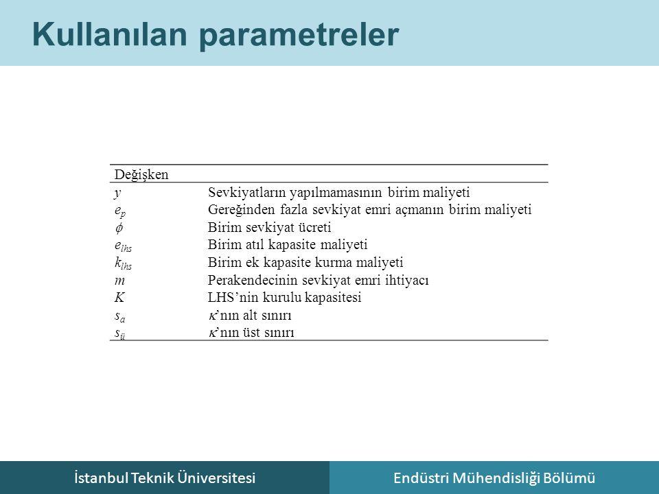 İstanbul Teknik ÜniversitesiEndüstri Mühendisliği Bölümü Kullanılan parametreler Değişken ySevkiyatların yapılmamasının birim maliyeti epep Gereğinden