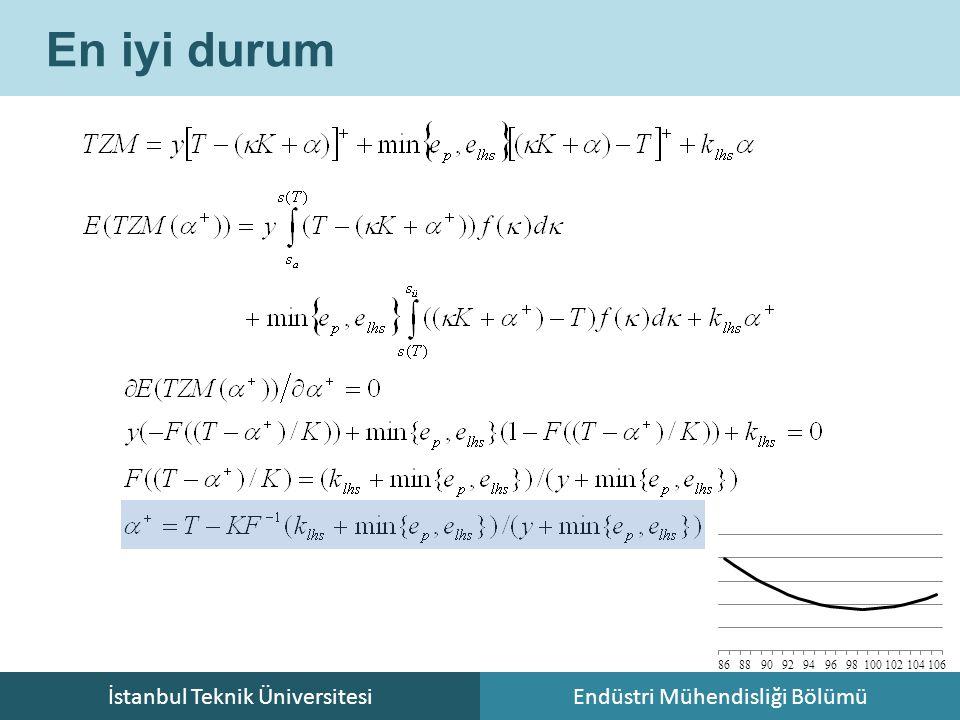 İstanbul Teknik ÜniversitesiEndüstri Mühendisliği Bölümü En iyi durum