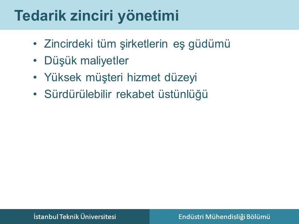 İstanbul Teknik ÜniversitesiEndüstri Mühendisliği Bölümü Tedarik zinciri yönetimi Zincirdeki tüm şirketlerin eş güdümü Düşük maliyetler Yüksek müşteri hizmet düzeyi Sürdürülebilir rekabet üstünlüğü
