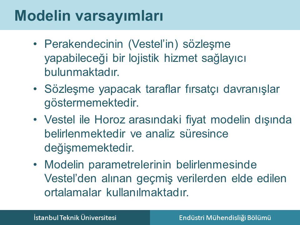 İstanbul Teknik ÜniversitesiEndüstri Mühendisliği Bölümü Modelin varsayımları Perakendecinin (Vestel'in) sözleşme yapabileceği bir lojistik hizmet sağ