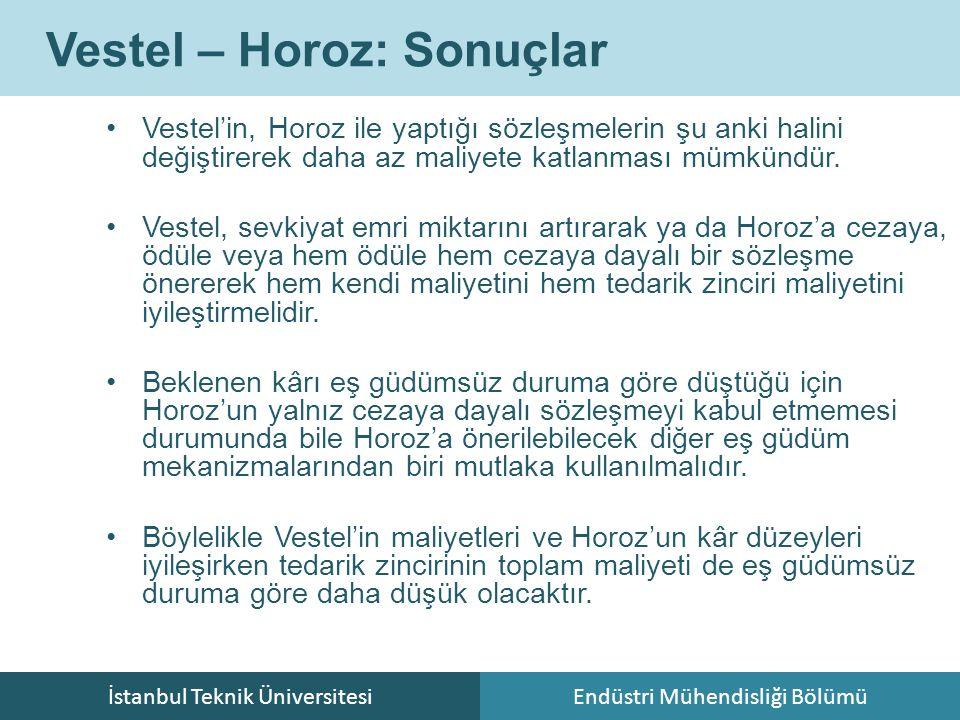 İstanbul Teknik ÜniversitesiEndüstri Mühendisliği Bölümü Vestel – Horoz: Sonuçlar Vestel'in, Horoz ile yaptığı sözleşmelerin şu anki halini değiştirerek daha az maliyete katlanması mümkündür.