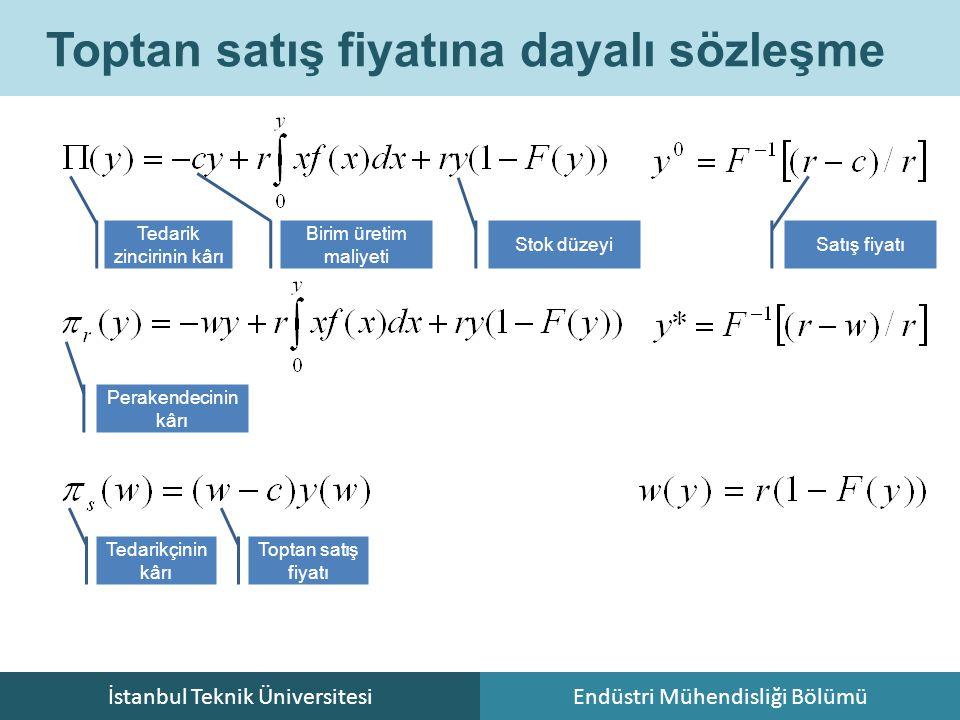 İstanbul Teknik ÜniversitesiEndüstri Mühendisliği Bölümü Toptan satış fiyatına dayalı sözleşme Tedarikçinin kârı Perakendecinin kârı Toptan satış fiya