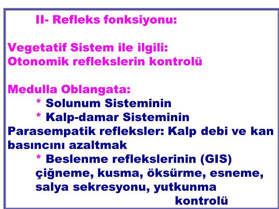 II- Refleks fonksiyonu: Vegetatif Sistem ile ilgili: Otonomik reflekslerin kontrolü Medulla Oblangata: * Solunum Sisteminin * Kalp-damar Sisteminin Parasempatik refleksler: Kalp debi ve kan basıncını azaltmak * Beslenme reflekslerinin (GIS) çiğneme, kusma,öksürme, esneme, salya sekresyonu, yutkunma kontrolü