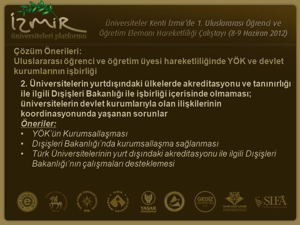 Çözüm Önerileri: Uluslararası öğrenci ve öğretim üyesi hareketliliğinde YÖK ve devlet kurumlarının işbirliği 2.