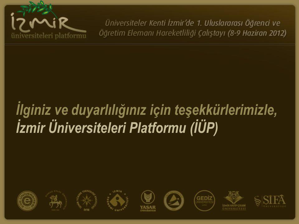 İlginiz ve duyarlılığınız için teşekkürlerimizle, İzmir Üniversiteleri Platformu (İÜP)