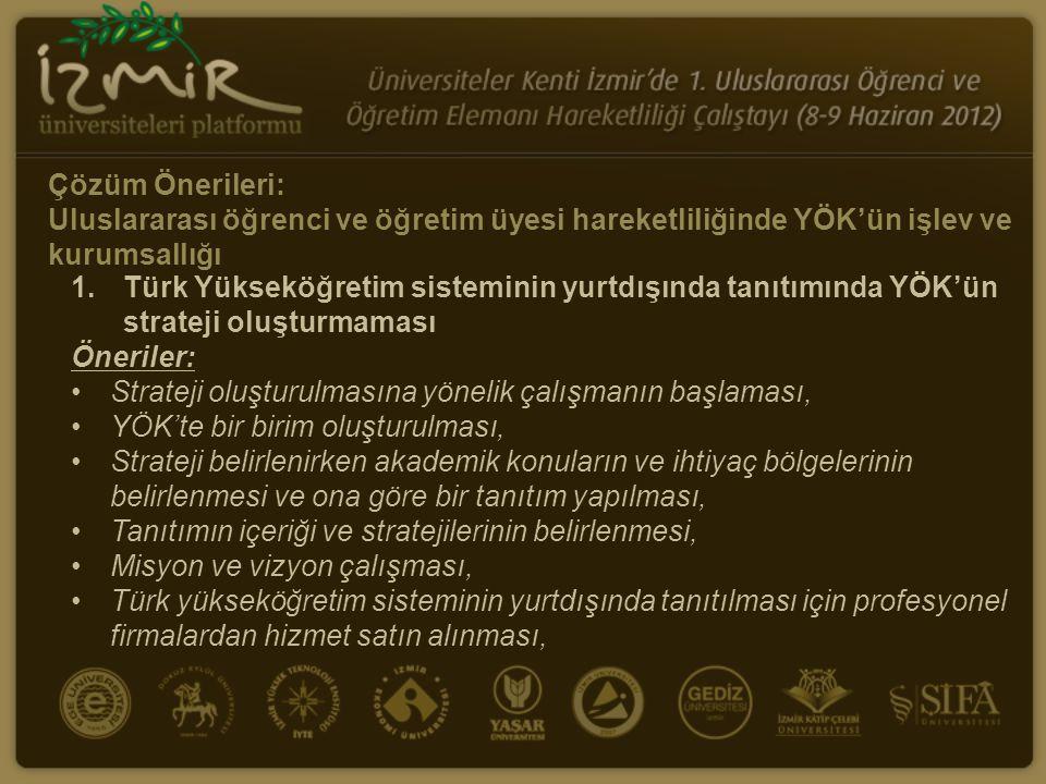 Çözüm Önerileri: Uluslararası öğrenci ve öğretim üyesi hareketliliğinde YÖK'ün işlev ve kurumsallığı 1.Türk Yükseköğretim sisteminin yurtdışında tanıtımında YÖK'ün strateji oluşturmaması Öneriler: Strateji oluşturulmasına yönelik çalışmanın başlaması, YÖK'te bir birim oluşturulması, Strateji belirlenirken akademik konuların ve ihtiyaç bölgelerinin belirlenmesi ve ona göre bir tanıtım yapılması, Tanıtımın içeriği ve stratejilerinin belirlenmesi, Misyon ve vizyon çalışması, Türk yükseköğretim sisteminin yurtdışında tanıtılması için profesyonel firmalardan hizmet satın alınması,