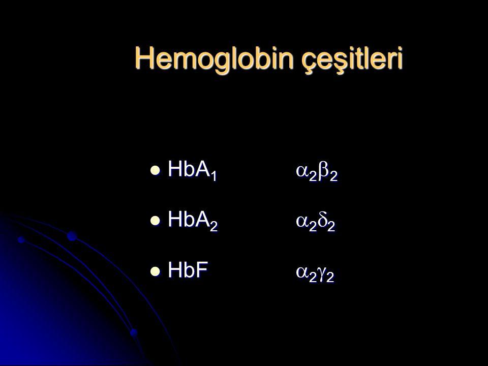 Hemoglobin çeşitleri HbA 1  2  2 HbA 1  2  2 HbA 2  2  2 HbA 2  2  2 HbF  2  2 HbF  2  2