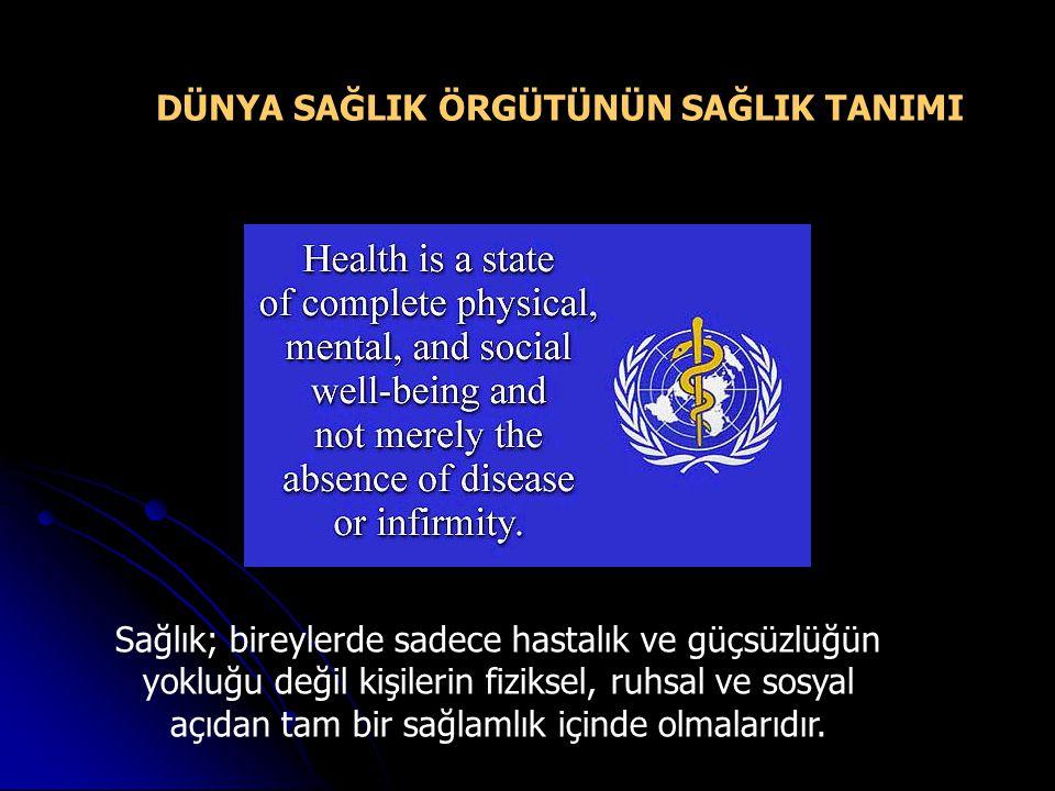 Sağlık; bireylerde sadece hastalık ve güçsüzlüğün yokluğu değil kişilerin fiziksel, ruhsal ve sosyal açıdan tam bir sağlamlık içinde olmalarıdır.
