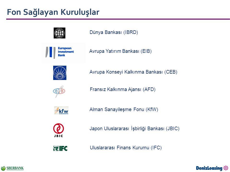 Fon Sağlayan Kuruluşlar Dünya Bankası (IBRD) Avrupa Yatırım Bankası (EIB) Avrupa Konseyi Kalkınma Bankası (CEB) Fransız Kalkınma Ajansı (AFD) Alman Sanayileşme Fonu (KfW) Japon Uluslararası İşbirliği Bankası (JBIC) Uluslararası Finans Kurumu (IFC)